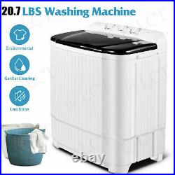 21.2LBS Automatic Compact Washing Machine Twin Tub with Drain Pump Spiner Dryer