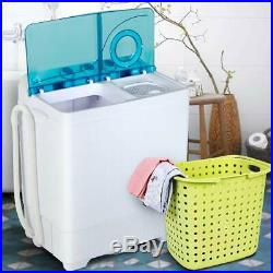 26 LBS Compact 2-Tub Laundry Spiner Dryer Mini Washing Machine with Drain Pump