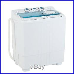 26 LBS Mini Washing Machine Twin Tub with Drain Pump Compact Laundry Spiner Dryer