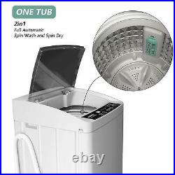 Full-Automatic Portable Washing Machine Compact 11lbs with Drain Pump LED Gray